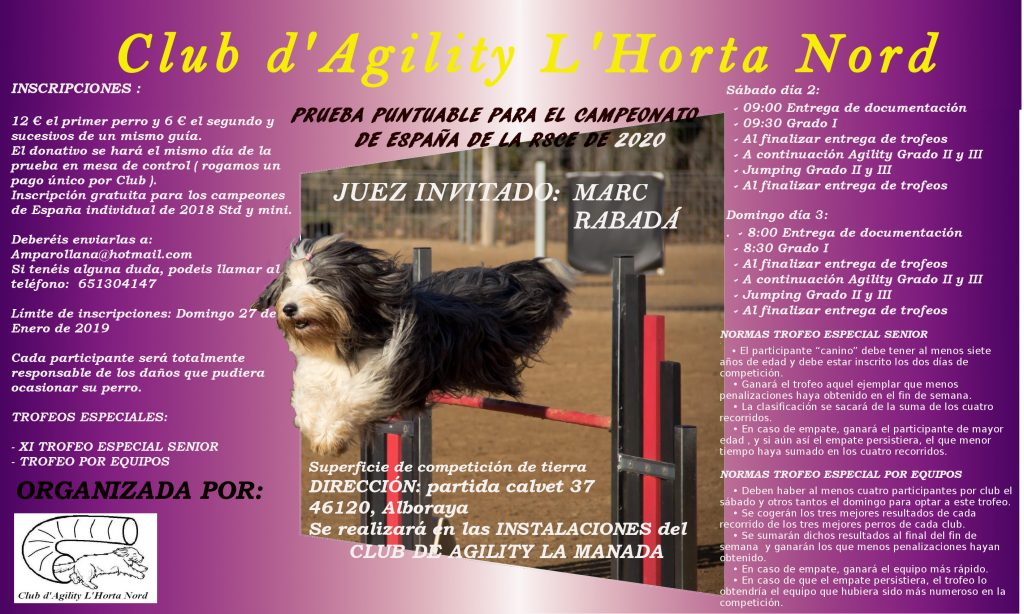 RSCE 2-3 FEBRERO L´HORTA NORD MUSSEROS @ CLUB AGILITY LA MANADA | Comunidad Valenciana | España