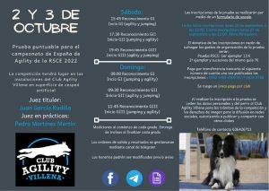 RSCE Competición Club Agility Villena 2 y 3 de Octubre 2021